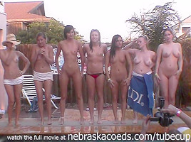 full nude frat house backyard strip contest