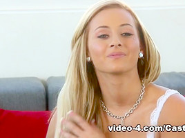 Blonde lassie Stacey nailed in the face during casting