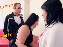 Mature Latina BBW shares Big Cock with junior college girl latina