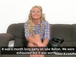 Adorable blonde Becky on her first porn casting
