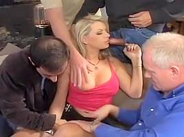Cougar Gangbanged By Four Hard Hunks.