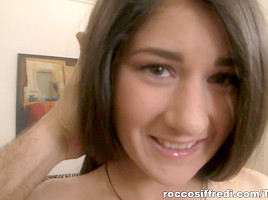 Cute brunette with long hair does professional blowjob