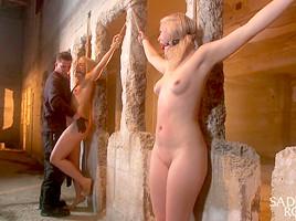 2 Helpless Blonde Whores in Brutal Bondage-