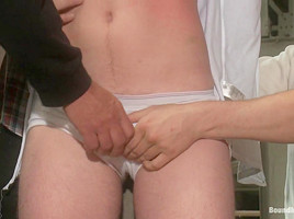 Bound in Public. Hazing the brand new boy in front of a crowd CMNM style