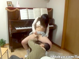Piano teacher rear fucks his pupil across the piano keys