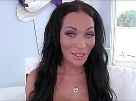 Curvy shemale vixen Mia Isabella sucks and rides studs cock