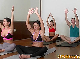Yoga femdoms cumswapping in group