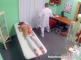 Hot Brunette Patient returns craving the doctors big cock
