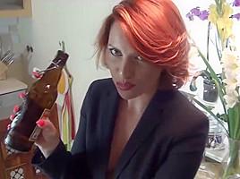 Handjob with cum on nylons