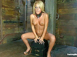 Hot Blonde on a Machine Circuit, Pussy Fucking Overload