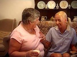 Pretty Young Blond Pleasures BBW Grandma