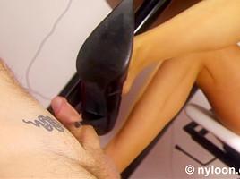 Nylon pantyhosed secretary gives shoejob and footjob