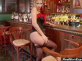 Glamorous MILF Masturbates At The Bar