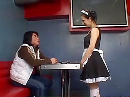 Hot waitress Maria Ozawa blows a cock uncensored