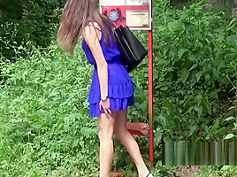 Czech girls get caught pulling their pants and peeing at a b-