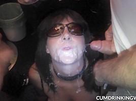 Naughty slutwife eats dozens of cumshots