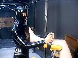Kinky slut in latex fucks her thrall during BDSM game-