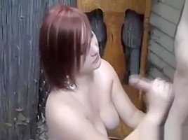 British girl jerks off dude in garden with the double hand twisty technique