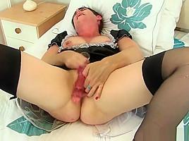 British milf Zanderlee gets off hard in her maid uniform-