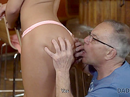 DADDY4K. Unexpected old and young sex action happened in empty bar