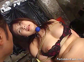 Sexy Japanese Slut is Dominated by her Maledom Master while she wears Sexy Lingerie and a Ball Gag Stuffed into her Hungry mouth as he Pumps her Hairy Slit with his Rabbit Sex Toy Vibrator