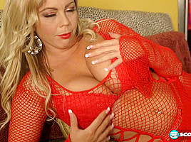 The Lady In Red With Big Tits & A Toy - ScoreLand