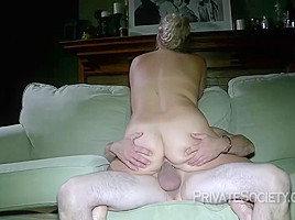 Dirty Minded Blonde Woman With Glasses Is Getting Fucked From The Back On The Sofa