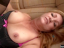 Mature Blonde Woman With Glasses Is Riding A Big Black Dick And Moaning While Cumming