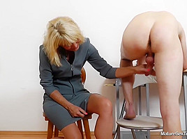 Mature Blonde Woman Is Eagerly Sucking Dick And Rubbing Her Pussy At The Same Time