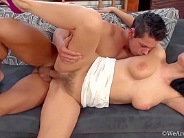 Busty and hairy brunette well pounded