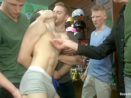 Bound in Public. Horny crowd jumps on a ripped stud in a skate shop