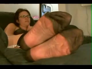 nylon feet in my face Lesbian foot slave video