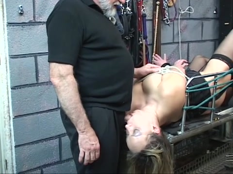 Fat S&M wench acquires teats pinched then fastened on table for BJ Make hubby suck dick