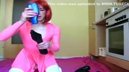 Cute Redhead Crossdresser in Pink Rides Big Black Toy free streaming creampie cum swap