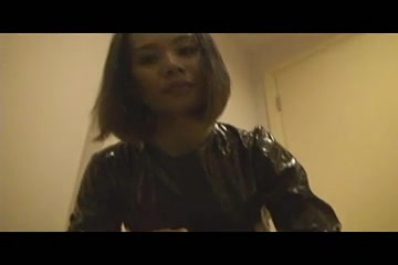 Black-pvc-catsuit Rie Tachikawa loves having her big tits stimulated