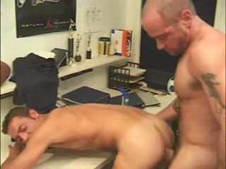 Two gay hunks enjoy hot butt-fucking look a like porn