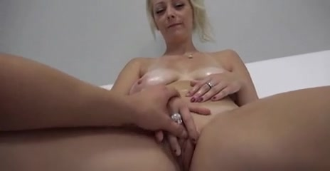 Busty blonde strips on interview and plays with dildo Cuckold couple pawg milf