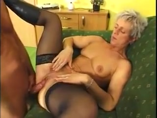 Short haired blond German MILF in stockings and boots fucked Perfect ass vagina