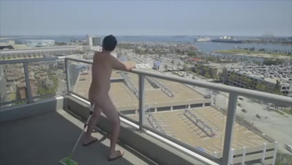Balcony pleasure brunette milf sucks load