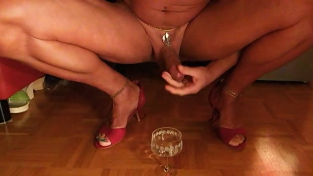 Crossdresser jerks in sandals, cumshot, cumdrink Small bobs tumblr