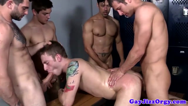 Tattooed jock facialized in group after anal Free hd granny porn