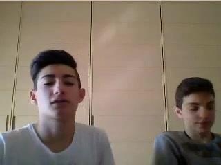 2 cute italian boys show their hot asses on webcam Fart teddy bear