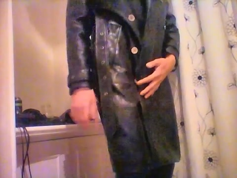 Wank in new leather trenchcoat Scissor position sex video