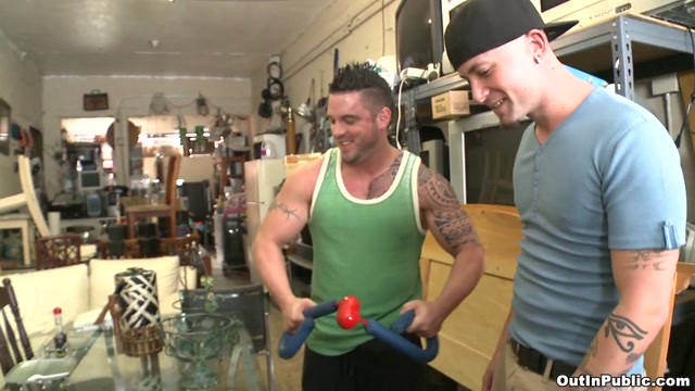 Muscle Guy gets Banged Out - OutInPublic Banana boobs gif