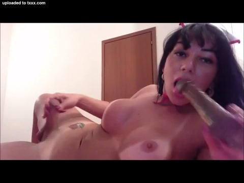 Busty Transsexual ejaculates on her belly I love lucy paris at last