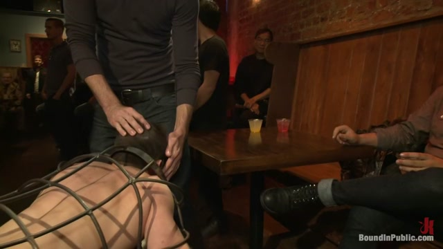 Stud in a metal cage is fucked by horny bar patrons Extreme squirting by fucking compilation Squirting