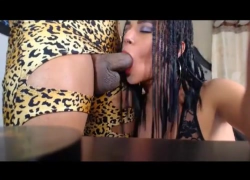 Leopard tranny fucks friend tifa gives a blowjob