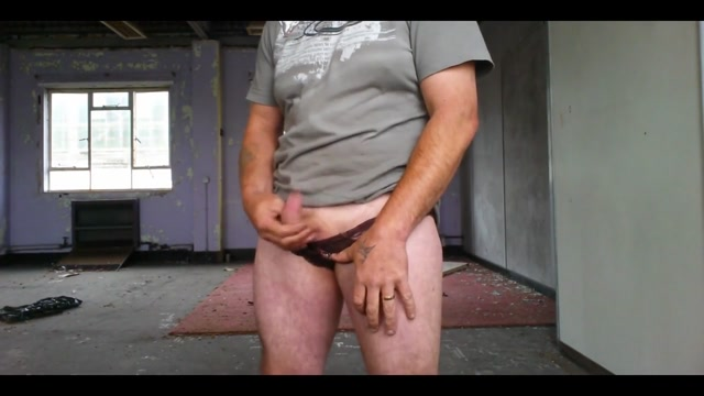 Panty play and cum in an old warehouse with another mans cum oral sex for a girl