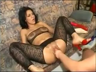 Outlandish Toying & Fisting Sexy Dark Brown fish inside pussy for free