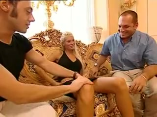 Stunning Brigitta - Black Skirt DP Threesome Mature nude women over 50